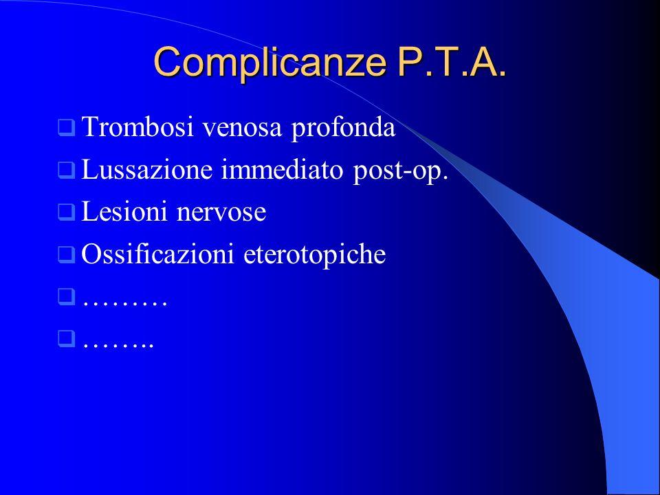 Complicanze P.T.A. Trombosi venosa profonda Lussazione immediato post-op. Lesioni nervose Ossificazioni eterotopiche ……… ……..