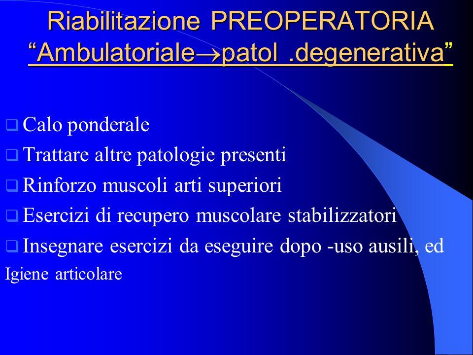 Riabilitazione PREOPERATORIA Ambulatoriale patol.degenerativa Calo ponderale Trattare altre patologie presenti Rinforzo muscoli arti superiori Eserciz