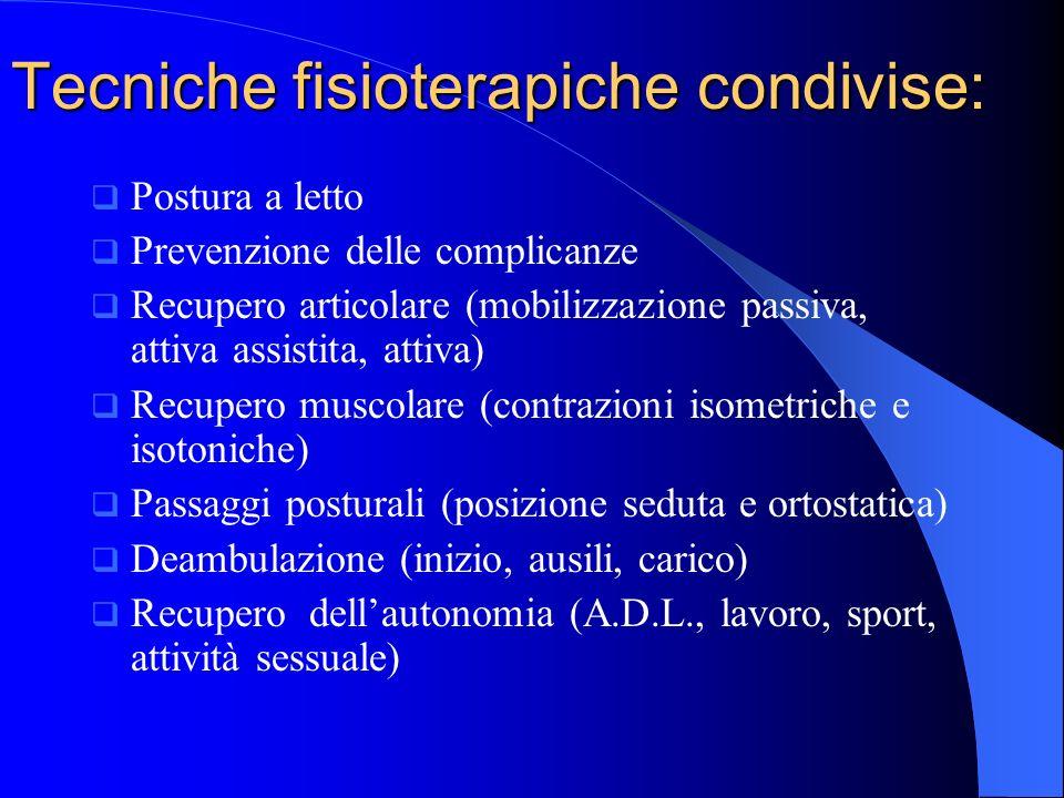 Tecniche fisioterapiche condivise: Postura a letto Prevenzione delle complicanze Recupero articolare (mobilizzazione passiva, attiva assistita, attiva