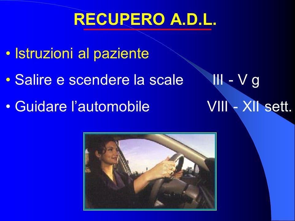 RECUPERO A.D.L. Istruzioni al paziente Salire e scendere la scale III - V g Guidare lautomobile VIII - XII sett.