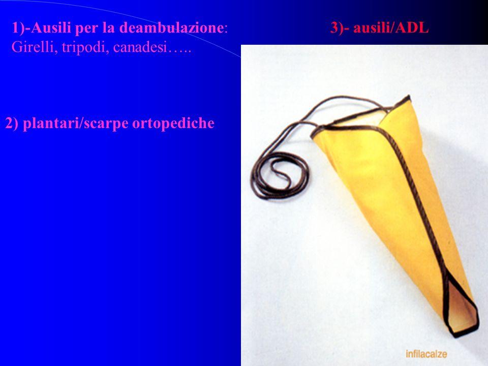 1)-Ausili per la deambulazione: Girelli, tripodi, canadesi….. 2) plantari/scarpe ortopediche 3)- ausili/ADL