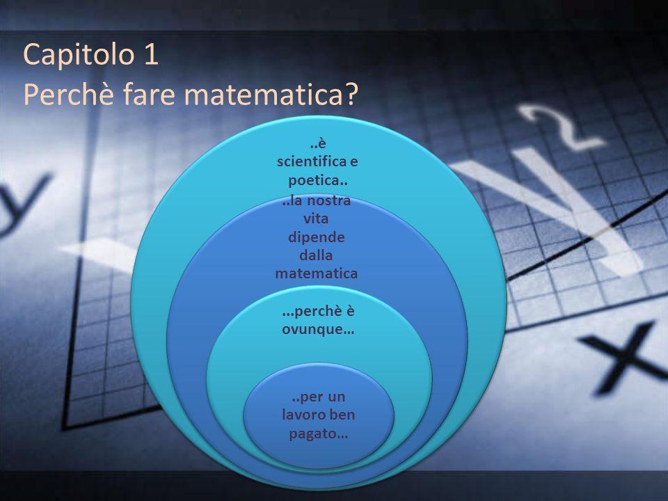 Capitolo 1 Perchè fare matematica?..è scientifica e poetica....la nostra vita dipende dalla matematica...perchè è ovunque…..per un lavoro ben pagato…