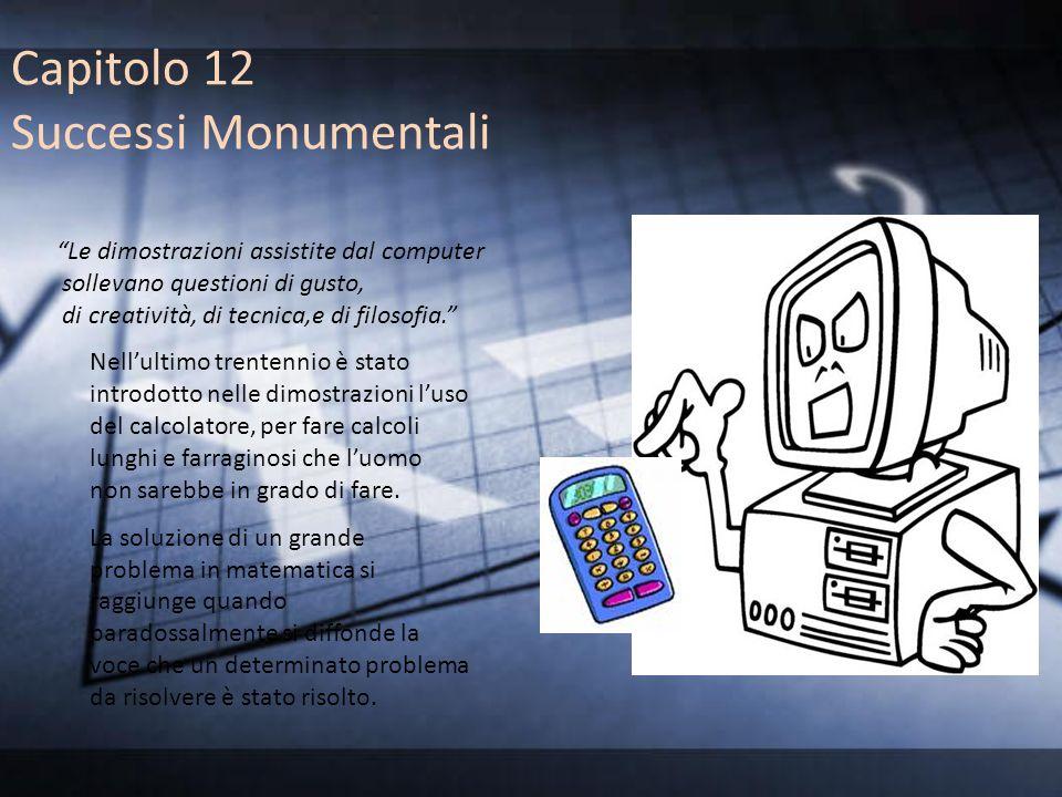 Capitolo 12 Successi Monumentali Le dimostrazioni assistite dal computer sollevano questioni di gusto, di creatività, di tecnica,e di filosofia. Nellu