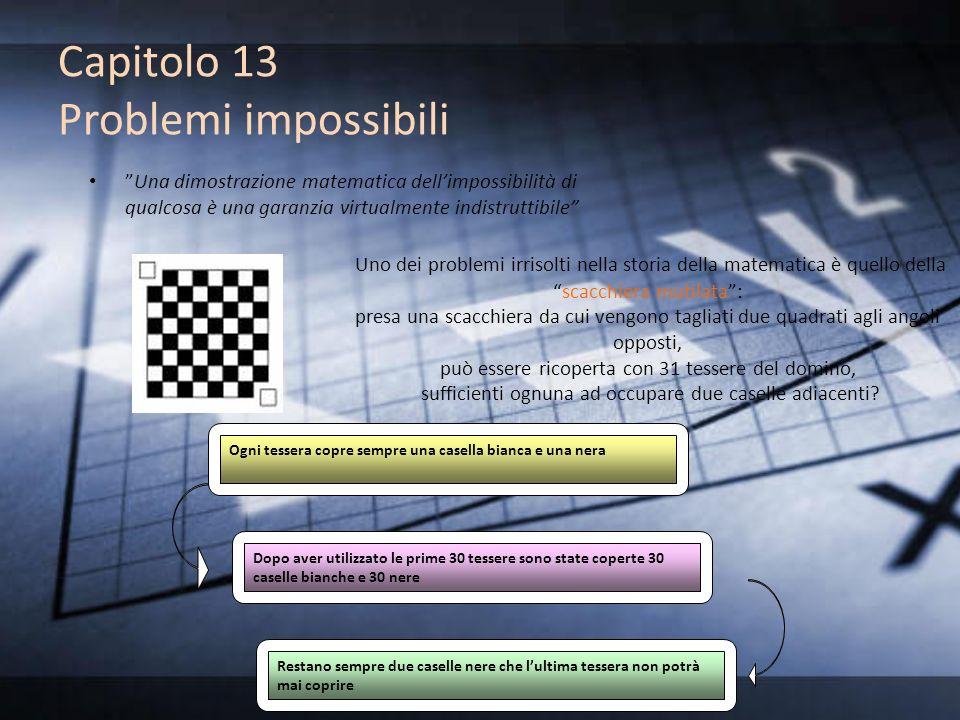 Capitolo 13 Problemi impossibili Una dimostrazione matematica dellimpossibilità di qualcosa è una garanzia virtualmente indistruttibile Uno dei proble