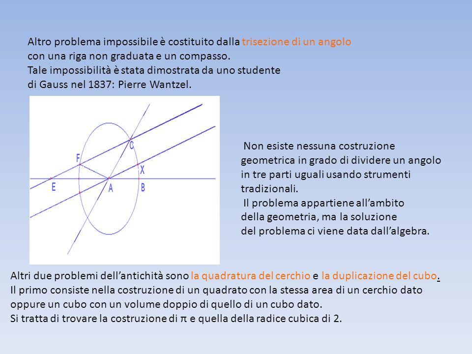 Altro problema impossibile è costituito dalla trisezione di un angolo con una riga non graduata e un compasso. Tale impossibilità è stata dimostrata d