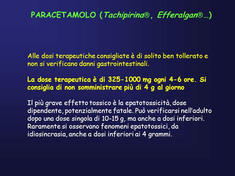 PARACETAMOLO (Tachipirina, Efferalgan …) Alle dosi terapeutiche consigliate è di solito ben tollerato e non si verificano danni gastrointestinali.