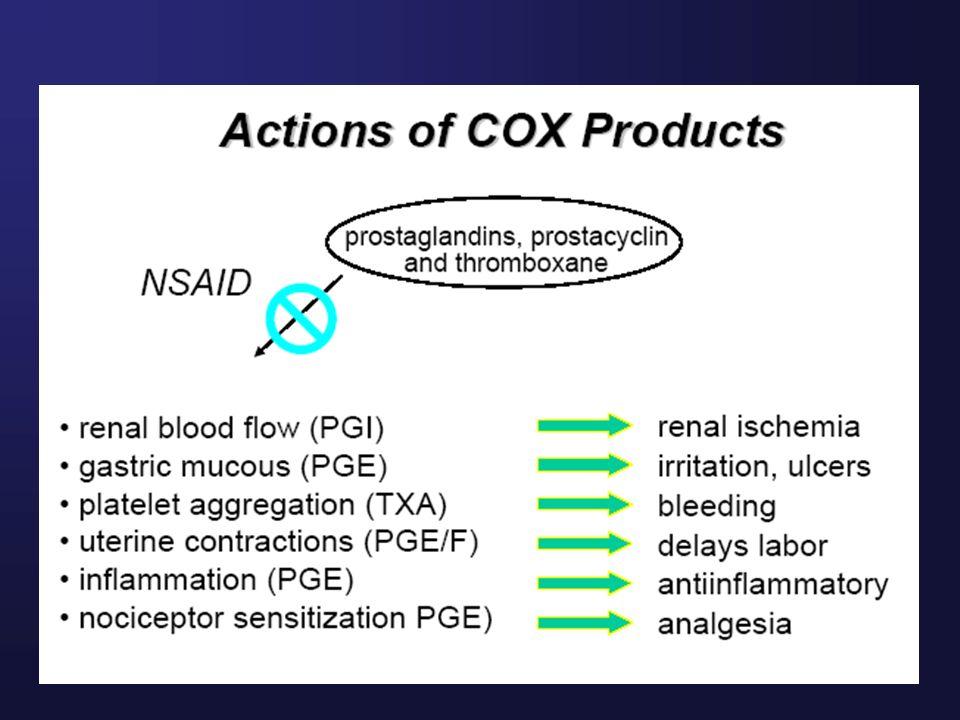 Acido acetilsalicilico e altri salicilati : effetti antipiretici ed antiinfiammatori dovuti alla inibizione della sintesi di prostaglan-dine.