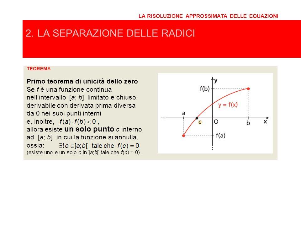 TEOREMA Primo teorema di unicità dello zero Se f è una funzione continua nellintervallo [a; b] limitato e chiuso, 2. LA SEPARAZIONE DELLE RADICI LA RI