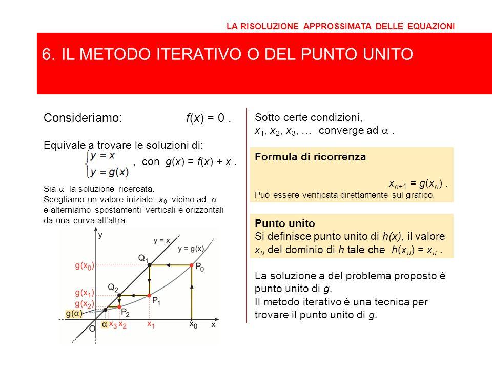 6. IL METODO ITERATIVO O DEL PUNTO UNITO LA RISOLUZIONE APPROSSIMATA DELLE EQUAZIONI Consideriamo:f(x) = 0. Sotto certe condizioni, x 1, x 2, x 3, … c