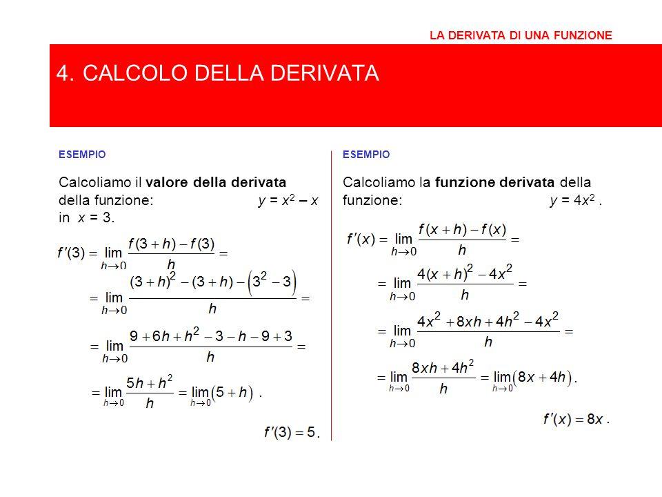 ESEMPIO Calcoliamo il valore della derivata della funzione: y = x 2 – x in x = 3. 4.CALCOLO DELLA DERIVATA LA DERIVATA DI UNA FUNZIONE.. ESEMPIO Calco