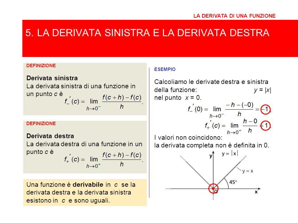 5. LA DERIVATA SINISTRA E LA DERIVATA DESTRA LA DERIVATA DI UNA FUNZIONE Una funzione è derivabile in c se la derivata destra e la derivata sinistra e