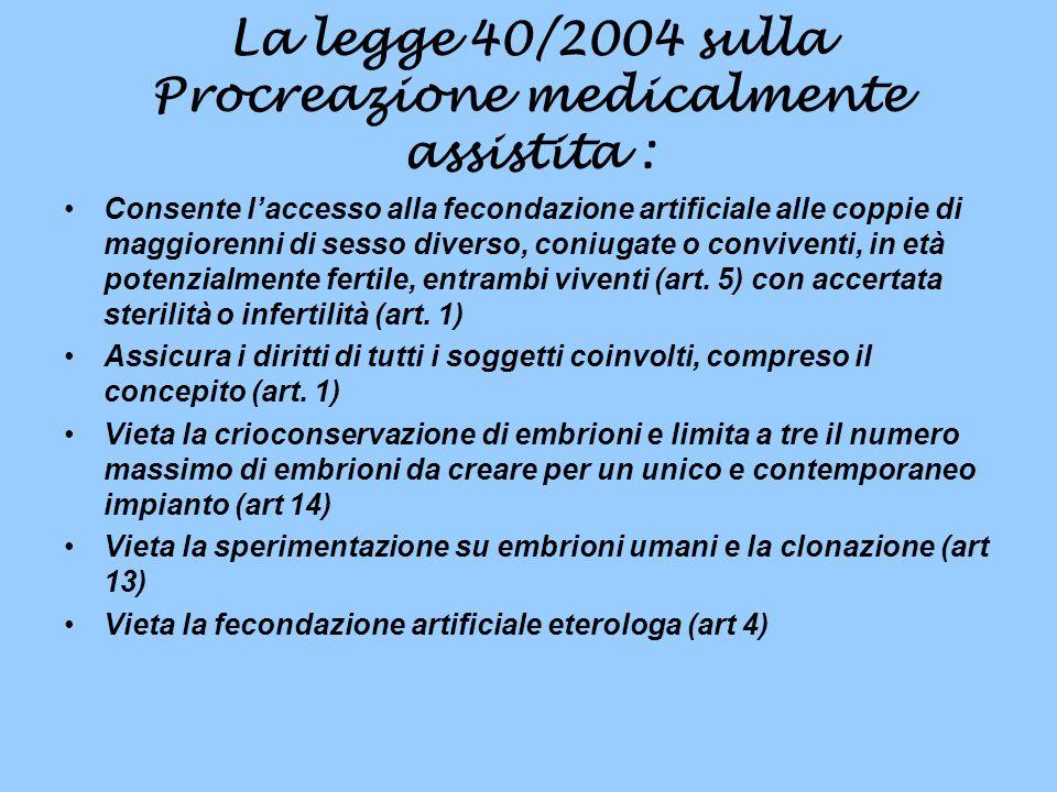 La legge 40/2004 sulla Procreazione medicalmente assistita : Consente laccesso alla fecondazione artificiale alle coppie di maggiorenni di sesso diverso, coniugate o conviventi, in età potenzialmente fertile, entrambi viventi (art.