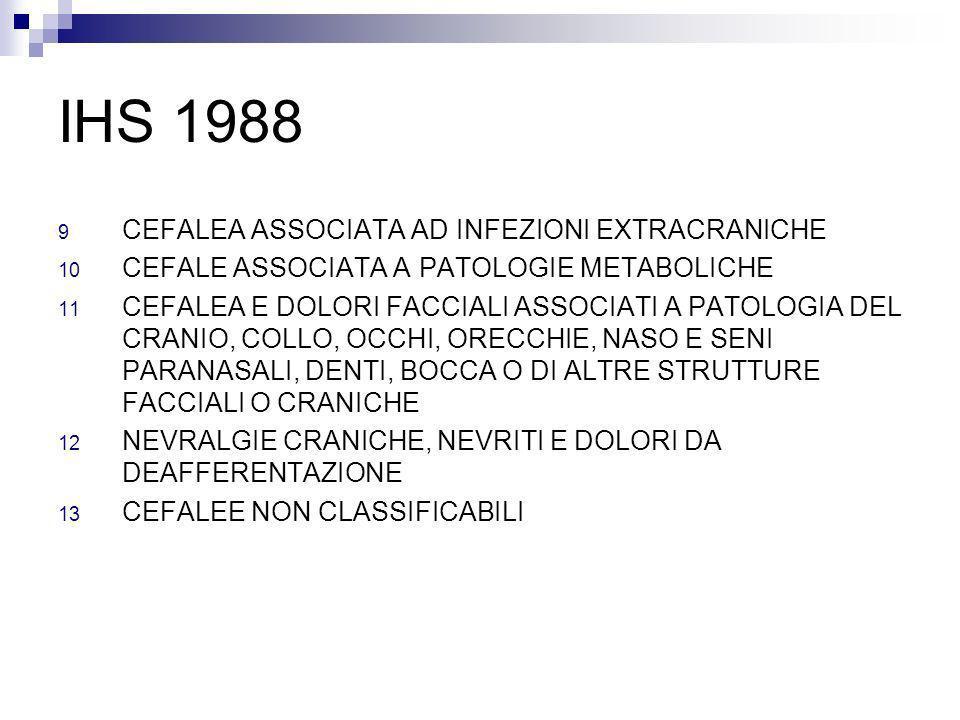 IHS 1988 9 CEFALEA ASSOCIATA AD INFEZIONI EXTRACRANICHE 10 CEFALE ASSOCIATA A PATOLOGIE METABOLICHE 11 CEFALEA E DOLORI FACCIALI ASSOCIATI A PATOLOGIA
