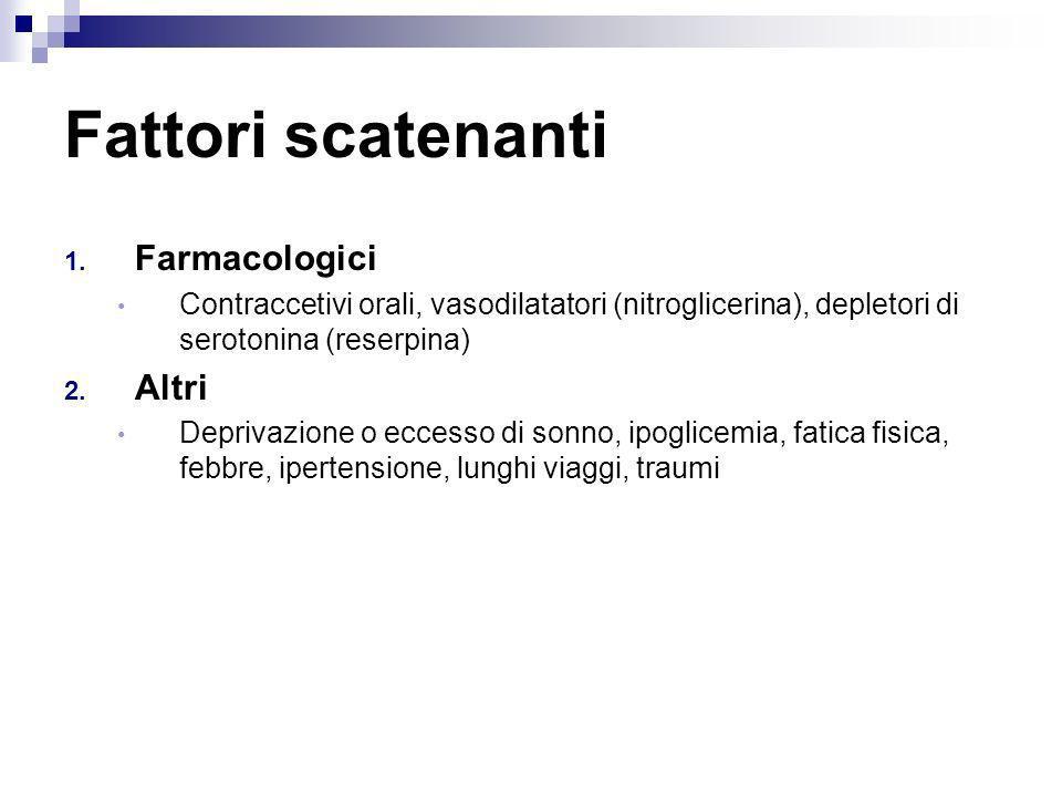 Fattori scatenanti 1. Farmacologici Contraccetivi orali, vasodilatatori (nitroglicerina), depletori di serotonina (reserpina) 2. Altri Deprivazione o