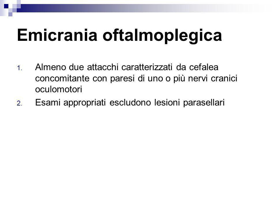 Emicrania oftalmoplegica 1. Almeno due attacchi caratterizzati da cefalea concomitante con paresi di uno o più nervi cranici oculomotori 2. Esami appr