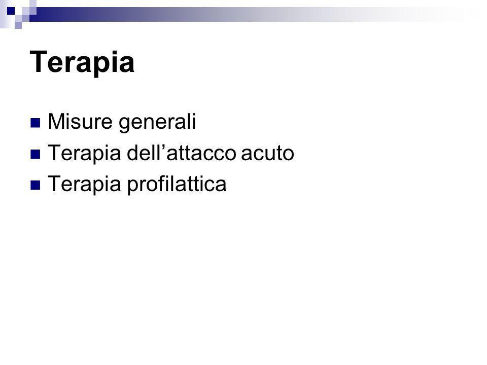 Terapia Misure generali Terapia dellattacco acuto Terapia profilattica