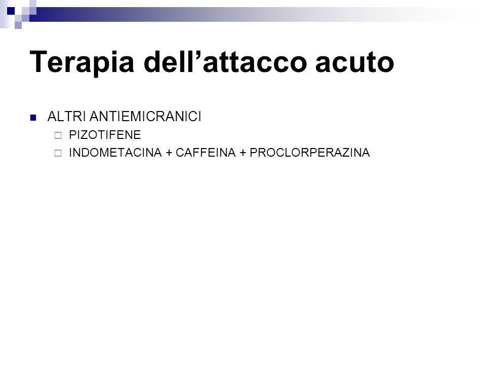 Terapia dellattacco acuto ALTRI ANTIEMICRANICI PIZOTIFENE INDOMETACINA + CAFFEINA + PROCLORPERAZINA