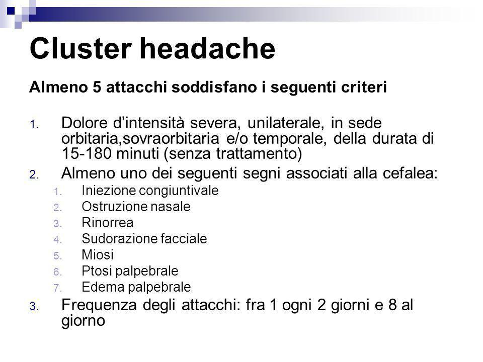 Cluster headache Almeno 5 attacchi soddisfano i seguenti criteri 1. Dolore dintensità severa, unilaterale, in sede orbitaria,sovraorbitaria e/o tempor