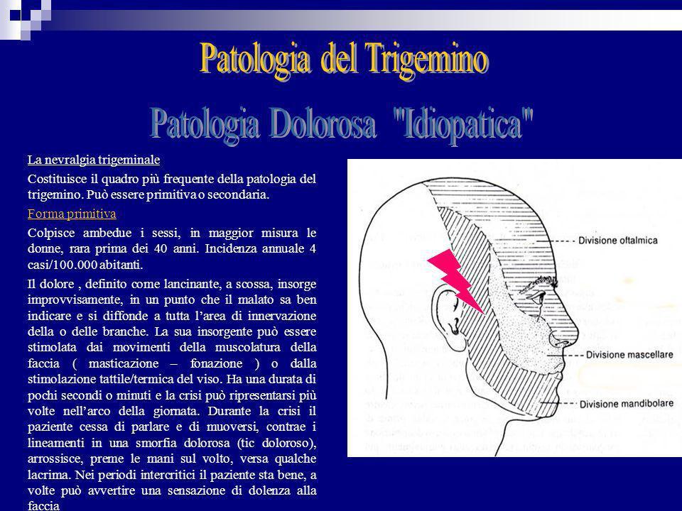 La nevralgia trigeminale Costituisce il quadro più frequente della patologia del trigemino. Può essere primitiva o secondaria. Forma primitiva Colpisc
