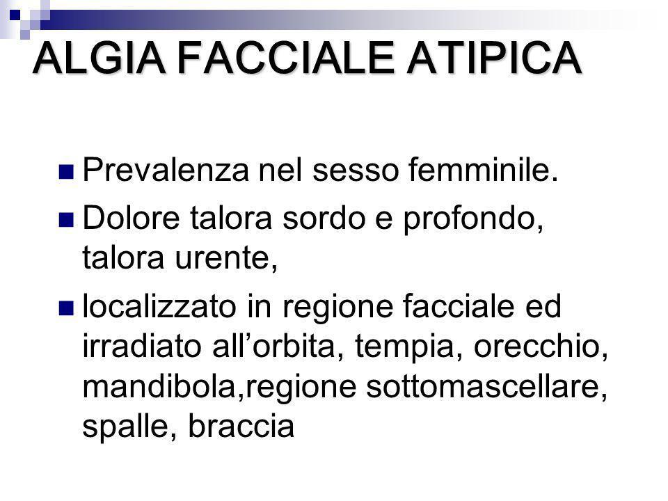 Prevalenza nel sesso femminile. Dolore talora sordo e profondo, talora urente, localizzato in regione facciale ed irradiato allorbita, tempia, orecchi