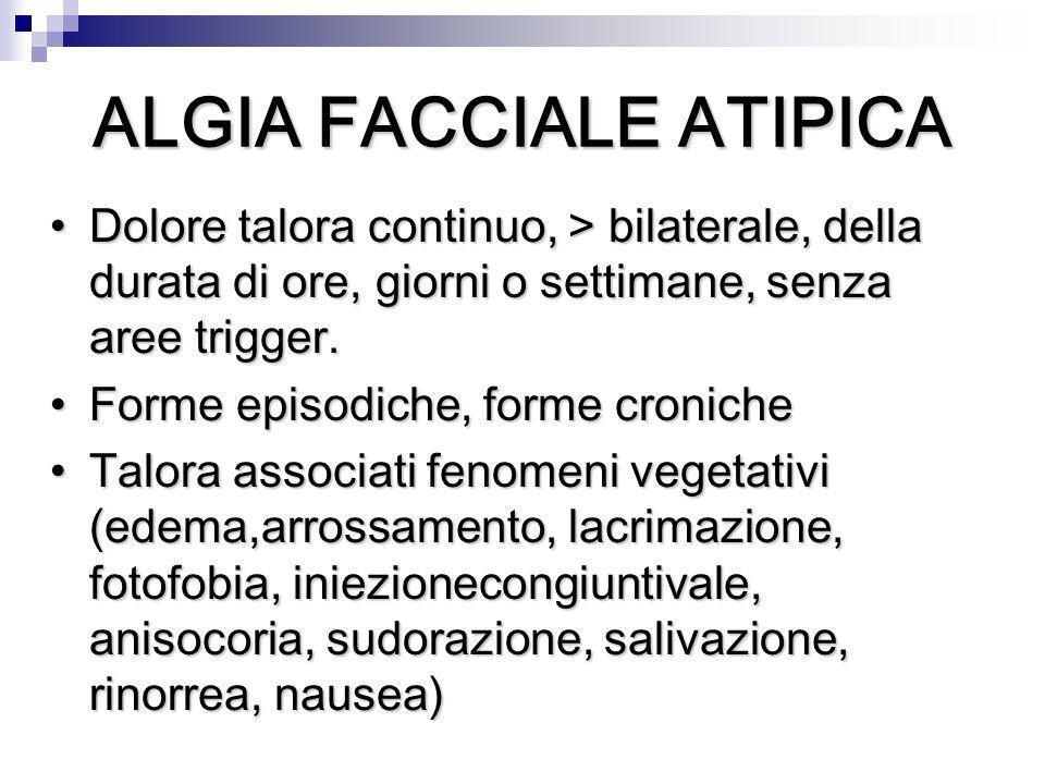 Dolore talora continuo, > bilaterale, della durata di ore, giorni o settimane, senza aree trigger.Dolore talora continuo, > bilaterale, della durata d