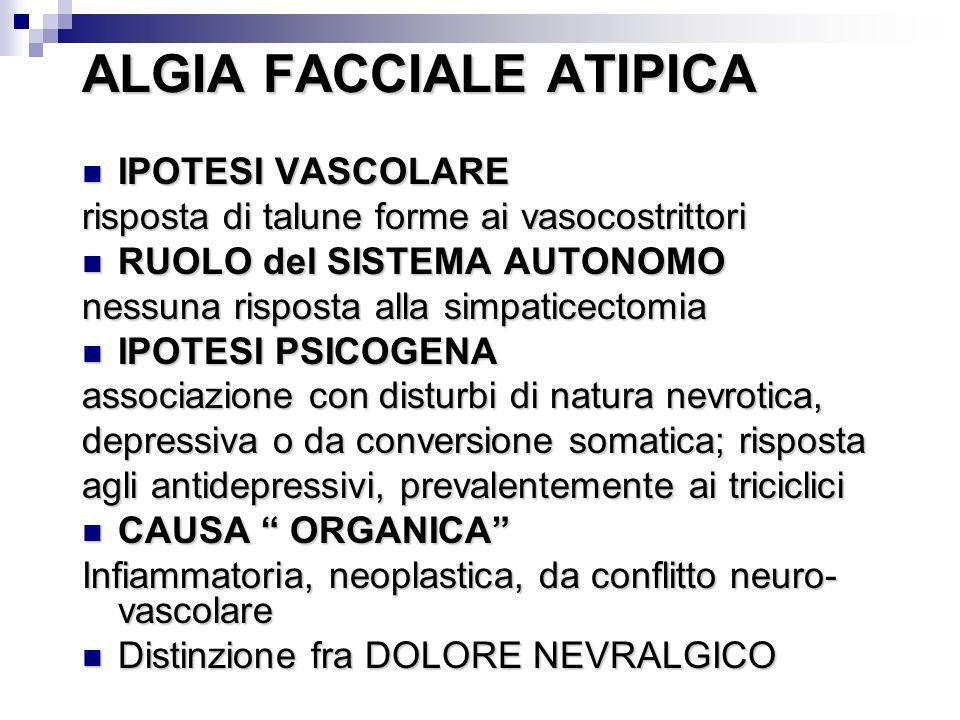 ALGIA FACCIALE ATIPICA IPOTESI VASCOLARE IPOTESI VASCOLARE risposta di talune forme ai vasocostrittori RUOLO del SISTEMA AUTONOMO RUOLO del SISTEMA AU
