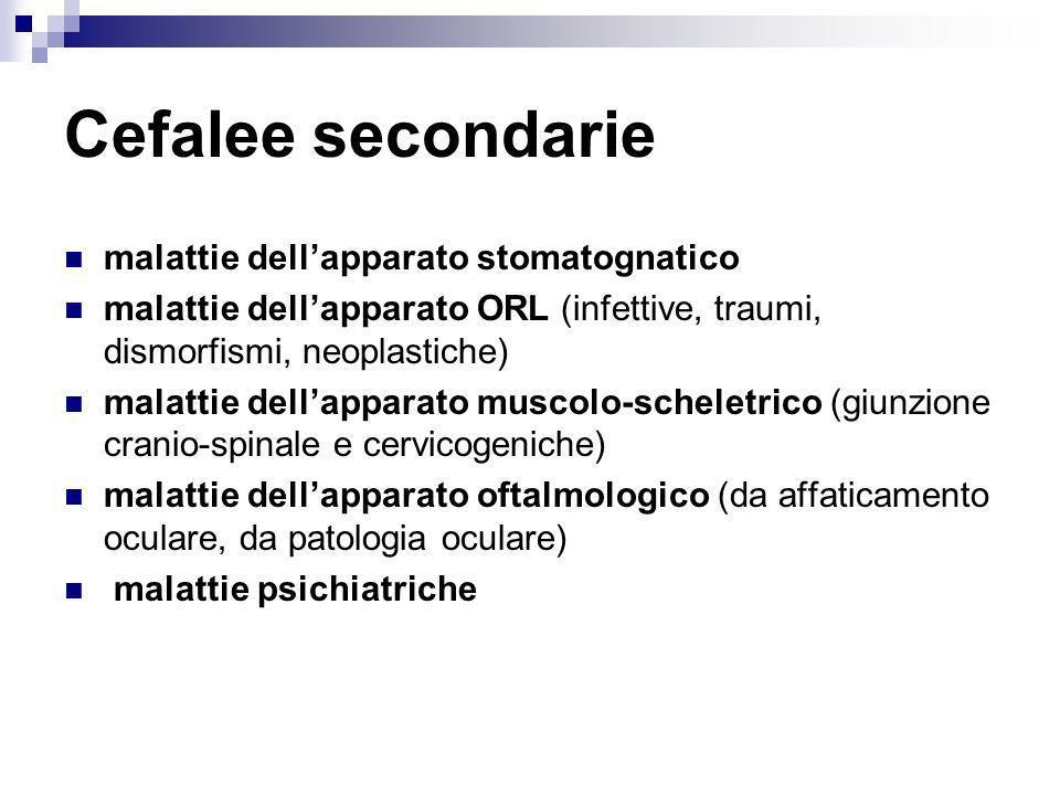 Cefalee secondarie malattie dellapparato stomatognatico malattie dellapparato ORL (infettive, traumi, dismorfismi, neoplastiche) malattie dellapparato