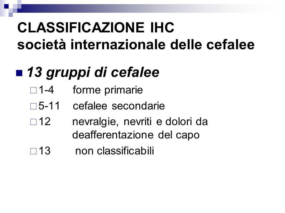 CLASSIFICAZIONE IHC società internazionale delle cefalee 13 gruppi di cefalee 1-4 forme primarie 5-11 cefalee secondarie 12 nevralgie, nevriti e dolor