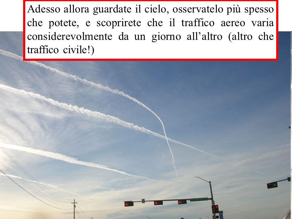 Adesso allora guardate il cielo, osservatelo più spesso che potete, e scoprirete che il traffico aereo varia considerevolmente da un giorno allaltro (altro che traffico civile!)