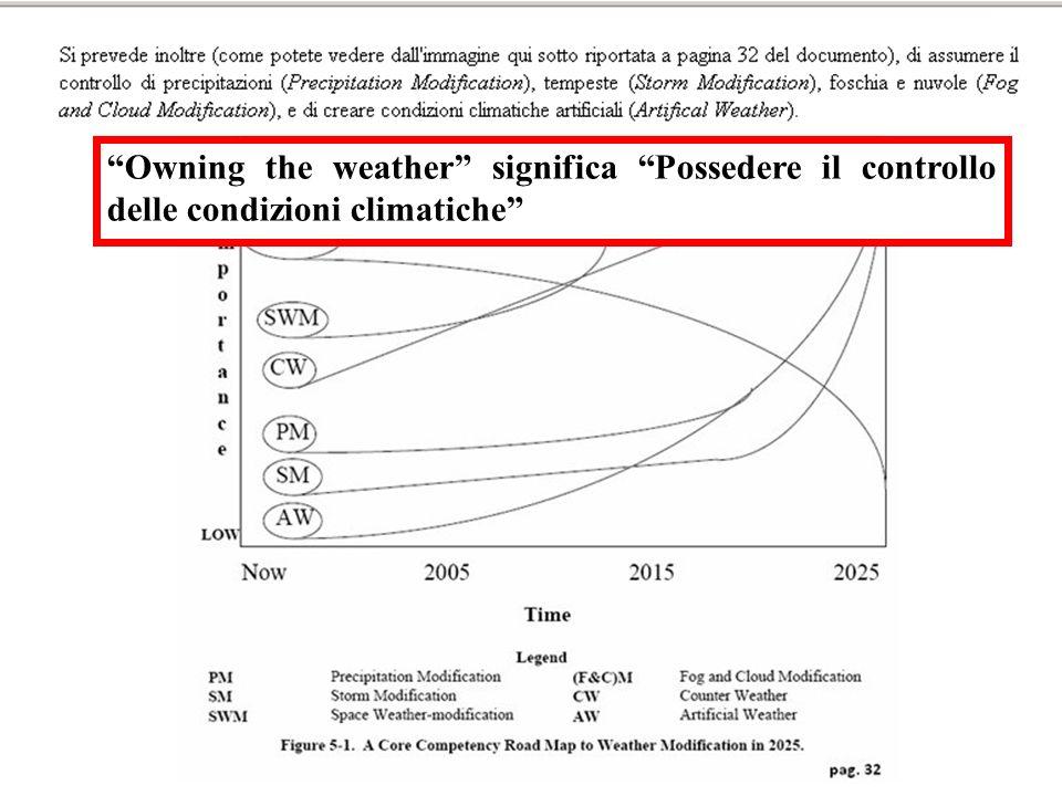 Owning the weather significa Possedere il controllo delle condizioni climatiche