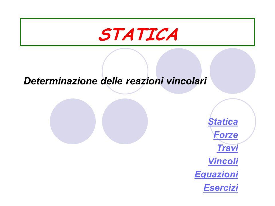 STATICA Statica Forze Travi Vincoli Equazioni Esercizi Determinazione delle reazioni vincolari