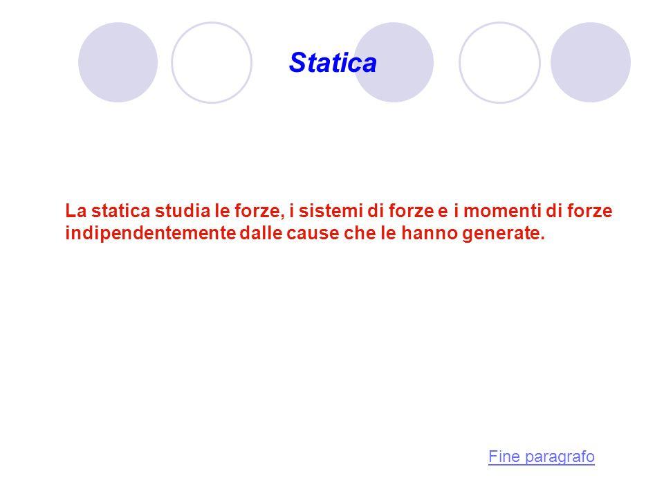 Statica La statica studia le forze, i sistemi di forze e i momenti di forze indipendentemente dalle cause che le hanno generate. Fine paragrafo