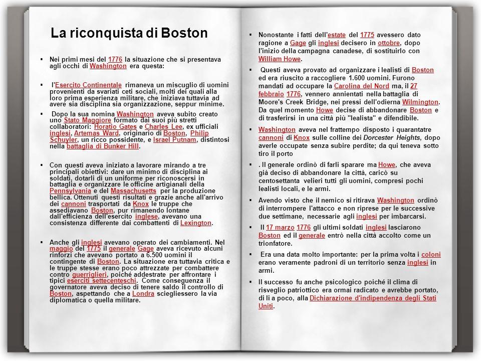 La riconquista di Boston Nei primi mesi del 1776 la situazione che si presentava agli occhi di Washington era questa:1776Washington l'Esercito Contine