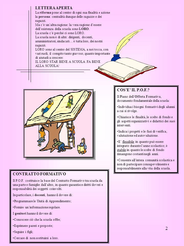 2 COSE IL P.O.F.? Il Piano dellOfferta Formativa, documento fondamentale della scuola: Individua i bisogni formativi degli alunni a cui si rivolge. Ch