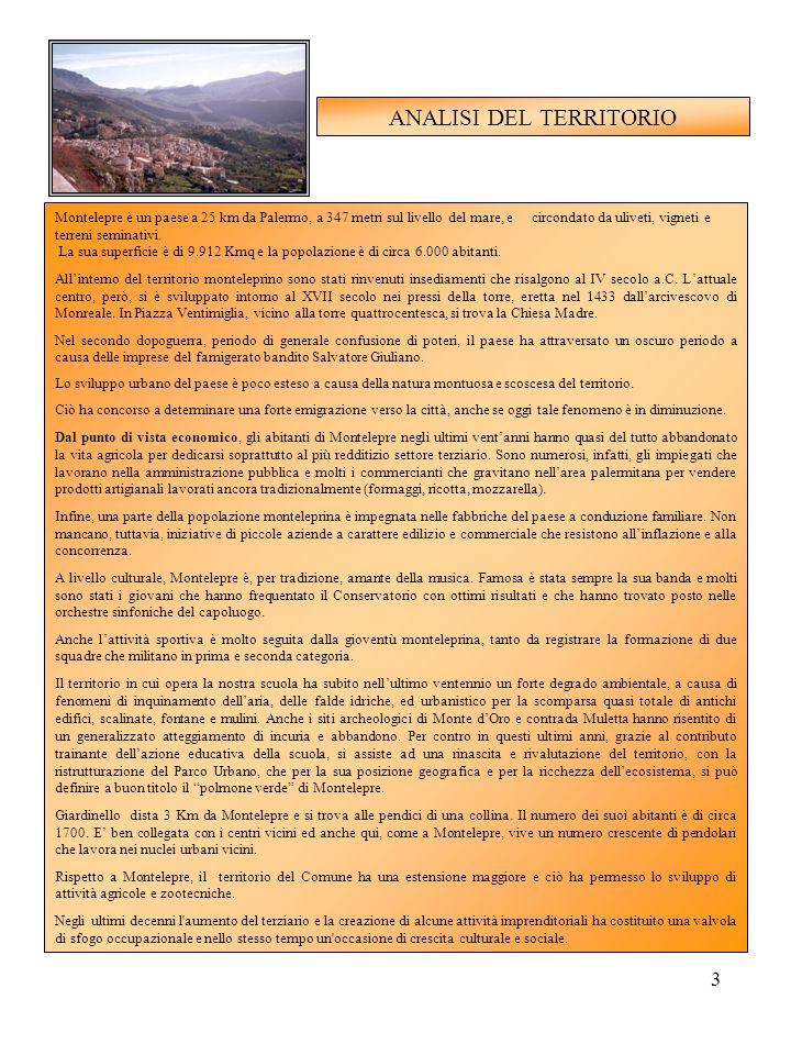 3 ANALISI DEL TERRITORIO Montelepre è un paese a 25 km da Palermo, a 347 metri sul livello del mare, e circondato da uliveti, vigneti e terreni semina