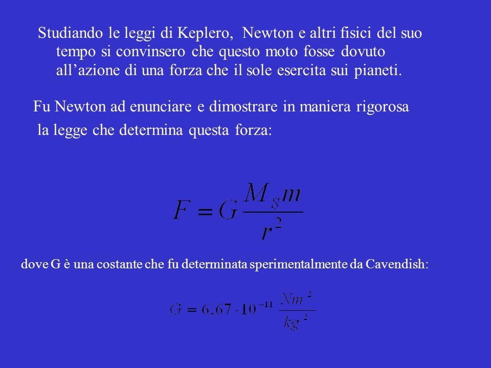 Studiando le leggi di Keplero, Newton e altri fisici del suo tempo si convinsero che questo moto fosse dovuto allazione di una forza che il sole esercita sui pianeti.