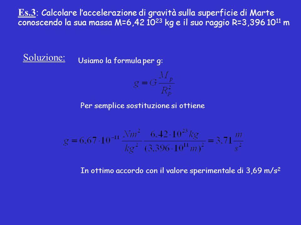 Es.3: Calcolare laccelerazione di gravità sulla superficie di Marte conoscendo la sua massa M=6,42 10 23 kg e il suo raggio R=3,396 10 11 m Soluzione: Usiamo la formula per g: Per semplice sostituzione si ottiene In ottimo accordo con il valore sperimentale di 3,69 m/s 2