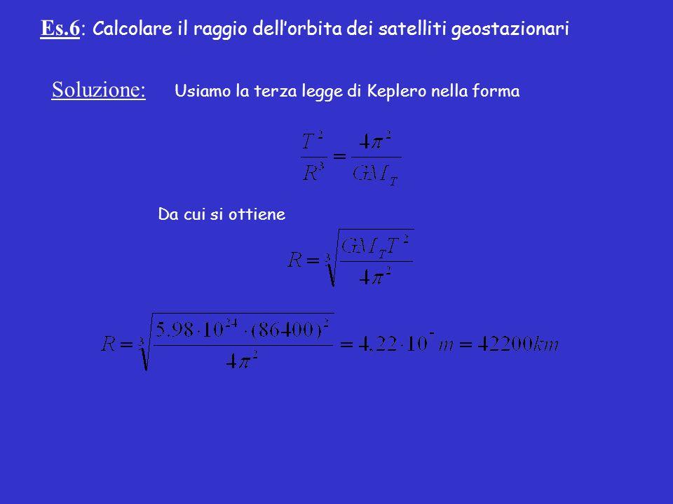 Es.6: Calcolare il raggio dellorbita dei satelliti geostazionari Soluzione: Usiamo la terza legge di Keplero nella forma Da cui si ottiene