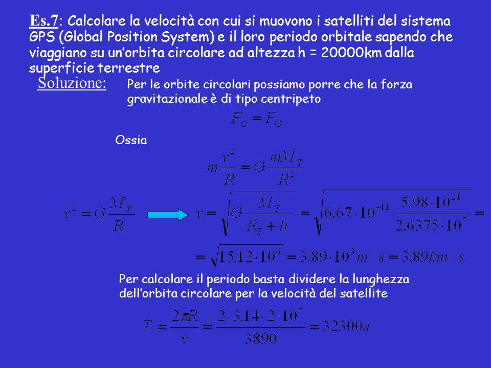 Es.7: Calcolare la velocità con cui si muovono i satelliti del sistema GPS (Global Position System) e il loro periodo orbitale sapendo che viaggiano su unorbita circolare ad altezza h = 20000km dalla superficie terrestre Soluzione: Per le orbite circolari possiamo porre che la forza gravitazionale è di tipo centripeto Ossia Per calcolare il periodo basta dividere la lunghezza dellorbita circolare per la velocità del satellite