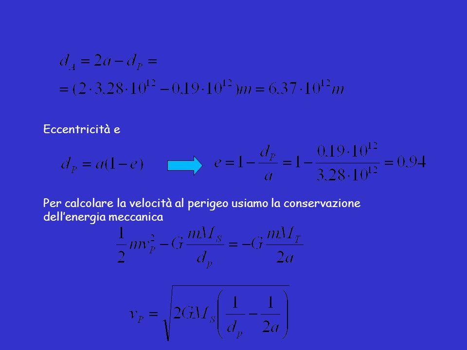 Eccentricità e Per calcolare la velocità al perigeo usiamo la conservazione dellenergia meccanica