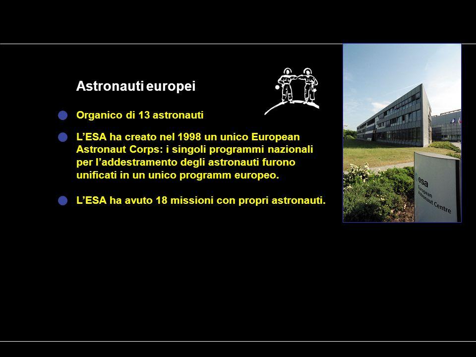 Organico di 13 astronauti Astronauti europei LESA ha creato nel 1998 un unico European Astronaut Corps: i singoli programmi nazionali per laddestramento degli astronauti furono unificati in un unico programm europeo.