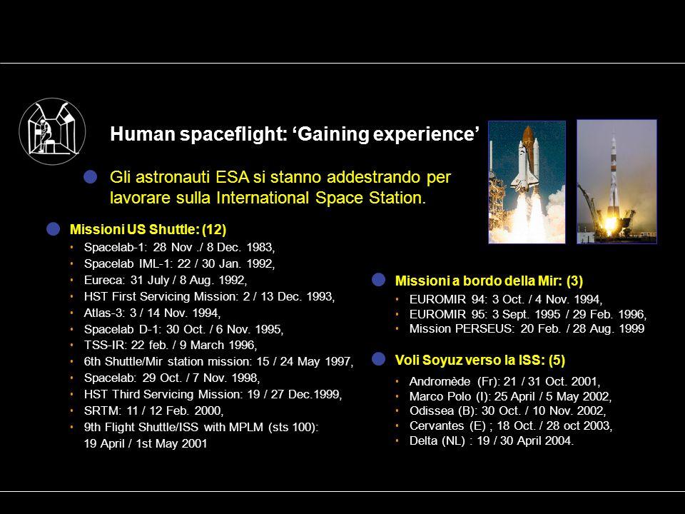 Human spaceflight: Gaining experience Gli astronauti ESA si stanno addestrando per lavorare sulla International Space Station.