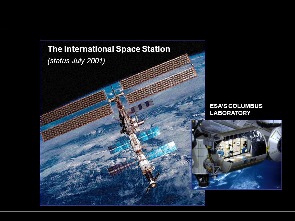 ESAS COLUMBUS LABORATORY The International Space Station (status July 2001)