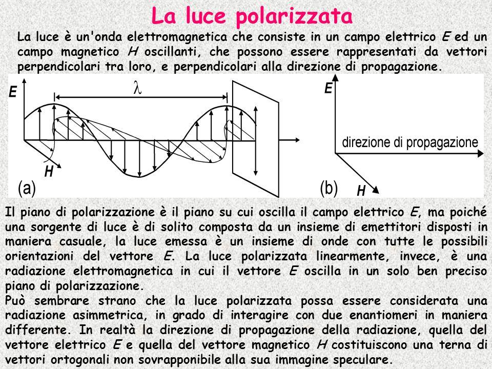 La luce polarizzata La luce è un'onda elettromagnetica che consiste in un campo elettrico E ed un campo magnetico H oscillanti, che possono essere rap