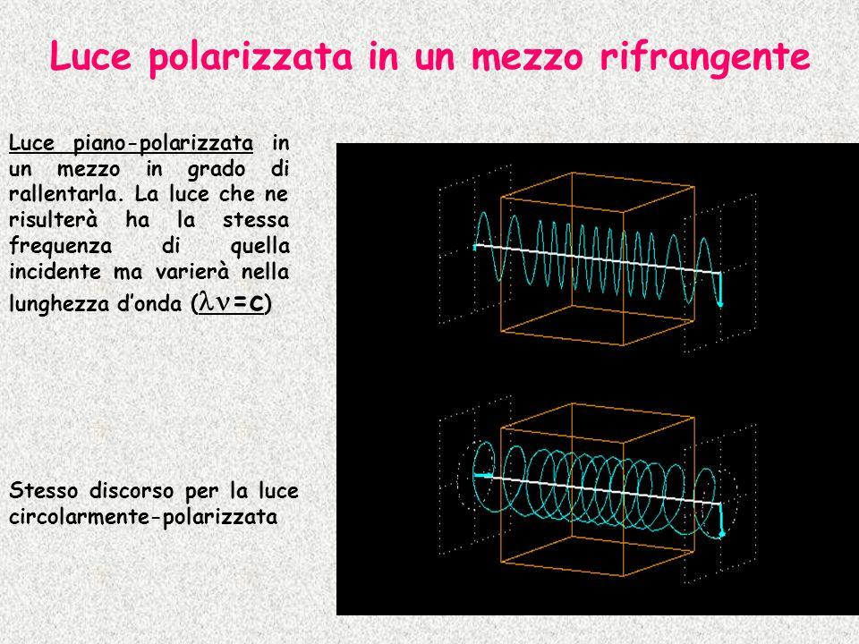Luce polarizzata in un mezzo rifrangente Luce piano-polarizzata in un mezzo in grado di rallentarla. La luce che ne risulterà ha la stessa frequenza d