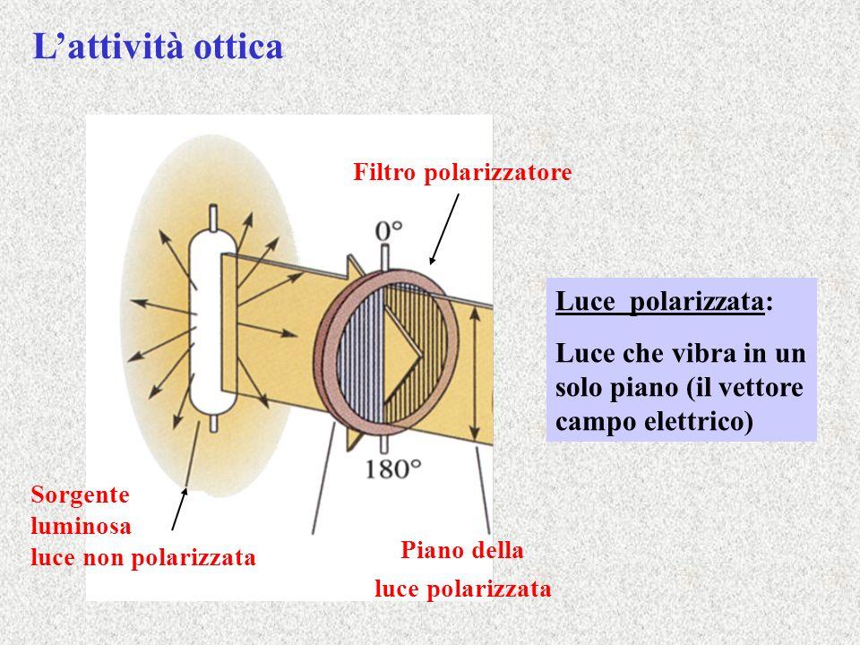 Sorgente luminosa luce non polarizzata Filtro polarizzatore Piano della luce polarizzata Luce polarizzata: Luce che vibra in un solo piano (il vettore