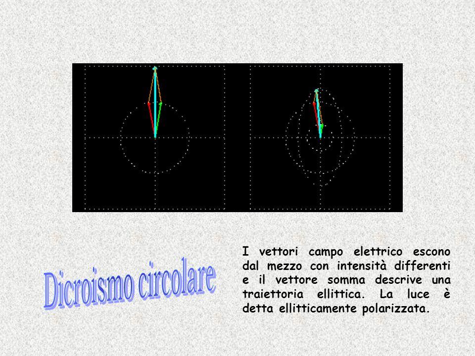 I vettori campo elettrico escono dal mezzo con intensità differenti e il vettore somma descrive una traiettoria ellittica. La luce è detta ellitticame