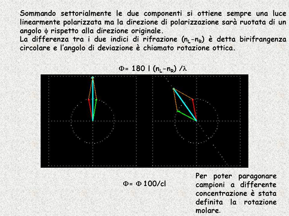 Sommando settorialmente le due componenti si ottiene sempre una luce linearmente polarizzata ma la direzione di polarizzazione sarà ruotata di un ango