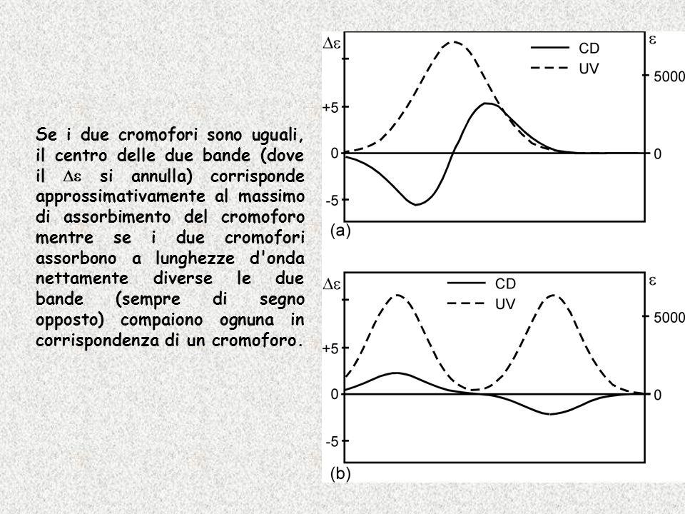 Se i due cromofori sono uguali, il centro delle due bande (dove il si annulla) corrisponde approssimativamente al massimo di assorbimento del cromofor