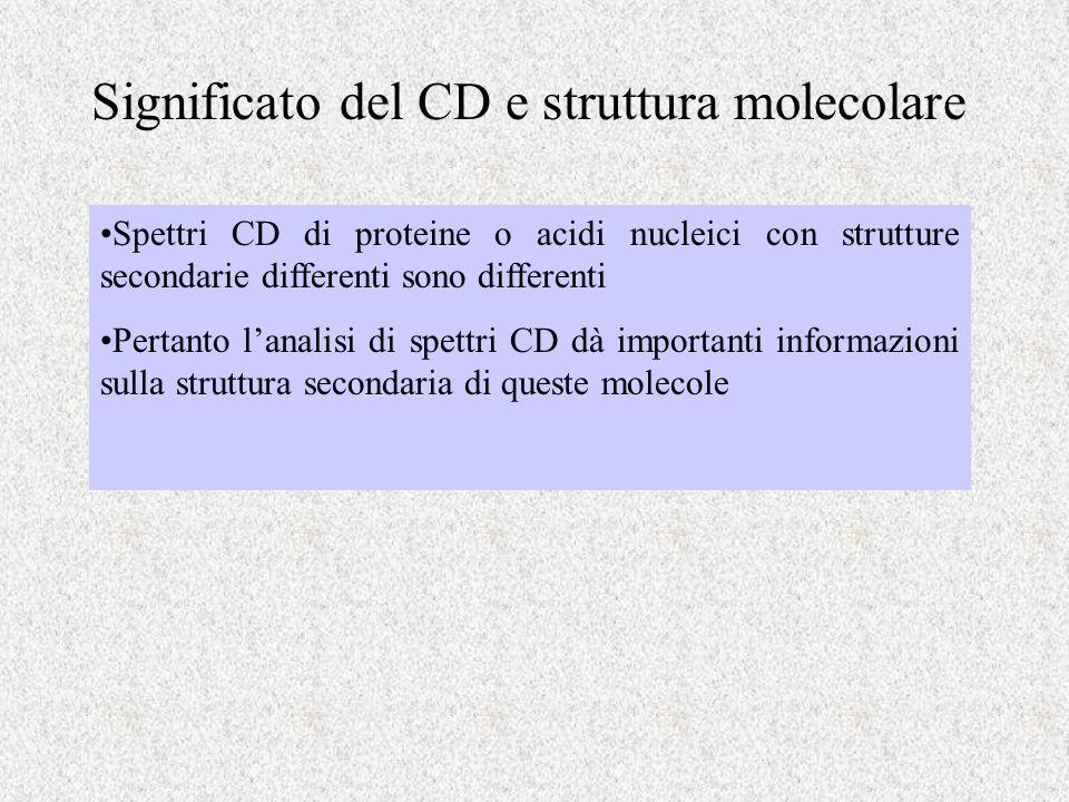 Significato del CD e struttura molecolare Spettri CD di proteine o acidi nucleici con strutture secondarie differenti sono differenti Pertanto lanalis